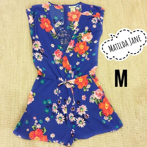 dea8484fc8ee Matilda Jane Pants - Matilda Jane Blue Floral Out and About Romper